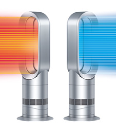AM09 Hot + Cool? Fan Heater White and Silver